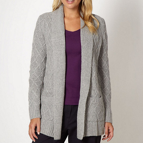 Maine New England - Light grey diamond knit mid length cardigan