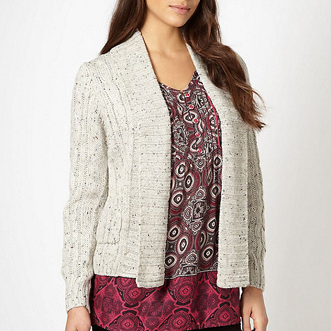 Maine New England - Natural flecked cable knit cardigan