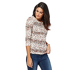 Maine New England - Multi-coloured leaf print scoop neck top