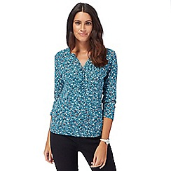 Maine New England - Turquoise floral print top