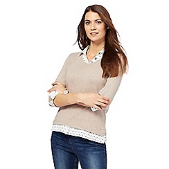 Maine New England - Natural mock collar top