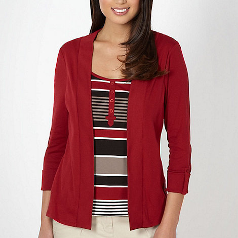 Maine New England - Dark red 2-in-1 striped top and cardigan