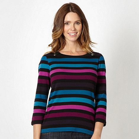 Maine New England - Plum striped tab detail top