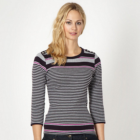Maine New England - Grey striped long sleeve t-shirt
