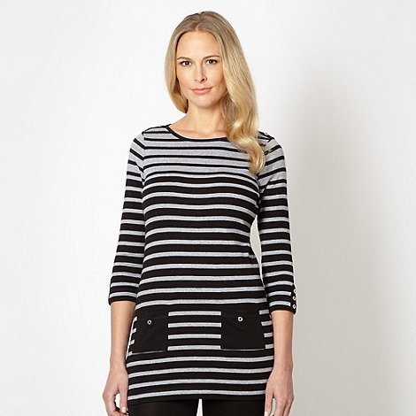 Maine New England - Black striped drop pocket tunic