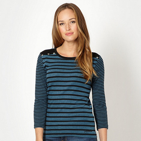Maine New England - Dark turquoise striped scoop neck top