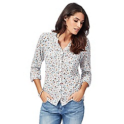 Maine New England - Off white floral print shirt
