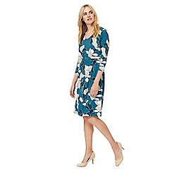 Maine New England - Green floral print knee length jersey dress