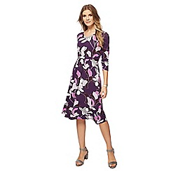 Maine New England - Purple floral print jersey V-neck dress