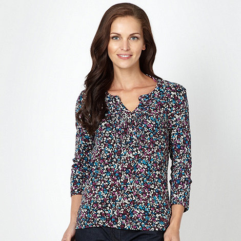 Maine New England - Bright purple floral printed top
