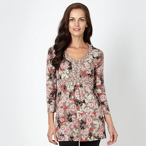 Maine New England - Taupe floral jersey tunic top