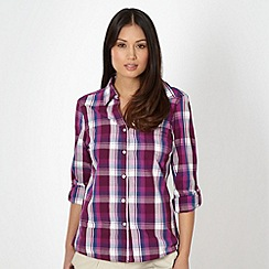 Maine New England - Plum checked roll sleeve shirt
