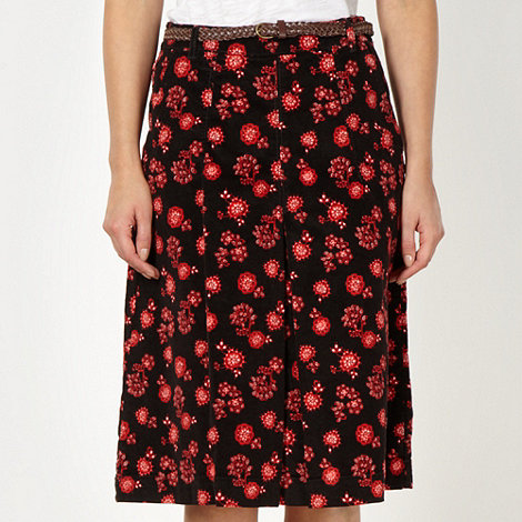 Maine New England - Black floral cord skirt