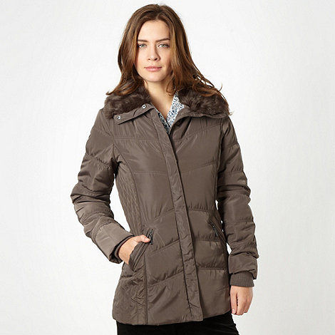 Maine New England - Brown mid length padded jacket