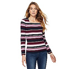 Maine New England - Purple stripe square neck top