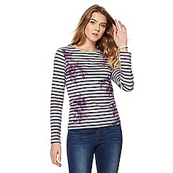 Maine New England - Grey stripe floral print top