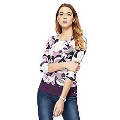 Maine New England - Plum floral print scoop neck top