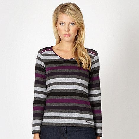 Maine New England - Grey V neck striped top