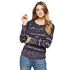 Maine New England - Navy floral print top