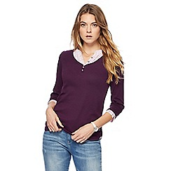 Maine New England - Purple checked mock shirt top