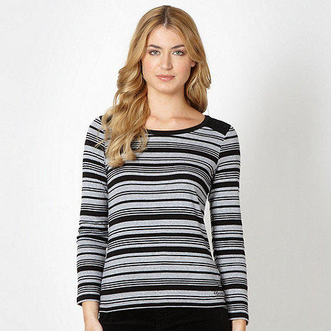 Maine New England - Black multi striped crochet top