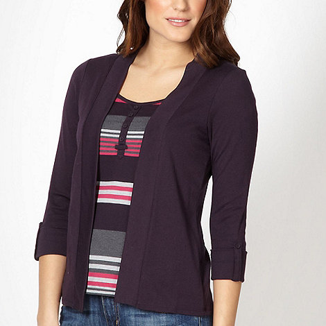 Maine New England - Plum 2-in-1 striped top and cardigan