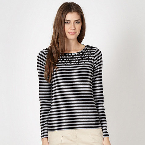 Maine New England - Black striped sequin front top