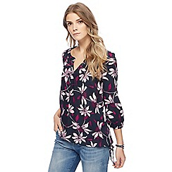 Maine New England - Plum floral print top