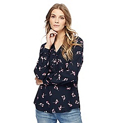 Maine New England - Navy floral frill collar blouse