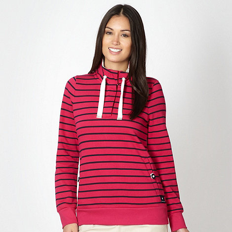 Maine New England - Dark pink striped zip neck sweat top