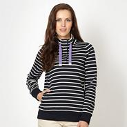 Navy striped zip funnel neck top