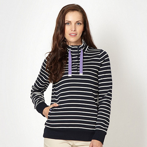 Maine New England - Navy striped zip funnel neck top