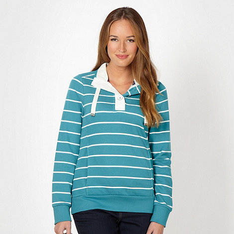 Maine New England - Turquoise striped button neck sweat top