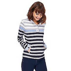 Maine New England - Grey stripe print button collar sweater