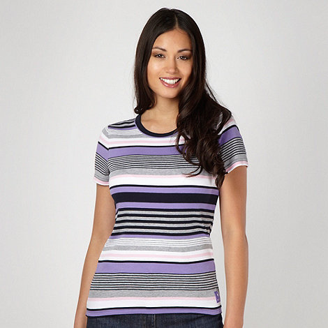 Maine New England - Lilac multi striped crew neck top