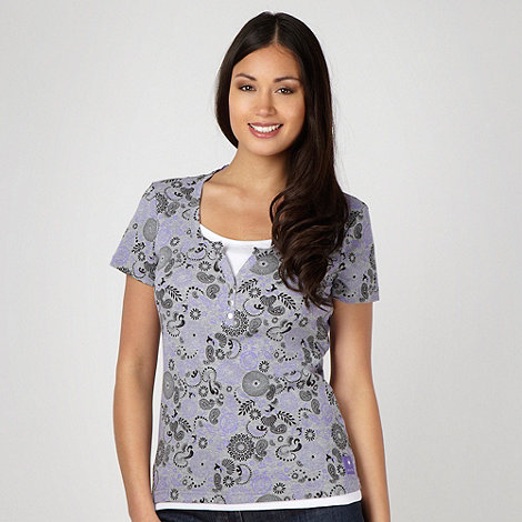 Maine New England - Grey floral cut out neck top