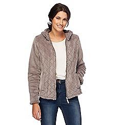 Maine New England - Dark grey quilted fleece hooded jacket