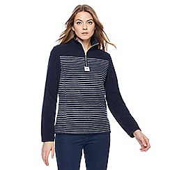 Maine New England - Navy stripe zip neck fleece