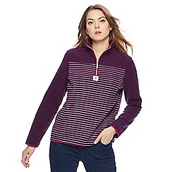 Maine New England - Purple stripe zip neck fleece