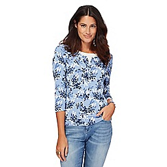 Maine New England - Blue floral print top