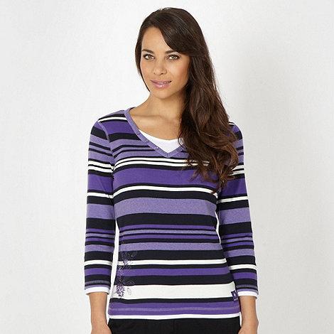 Maine New England - Purple striped mock layer top