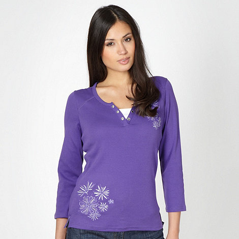 Maine New England - Purple embroidered top