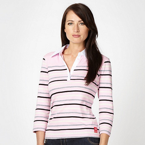 Maine New England - Pale pink striped rugby collar top