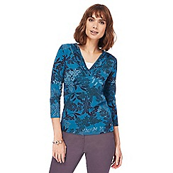 Maine New England - Turquoise leaf print V-neck top