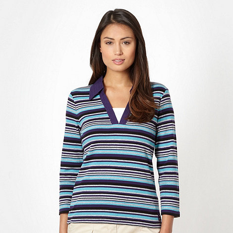 Maine New England - Turquoise striped woven collar top