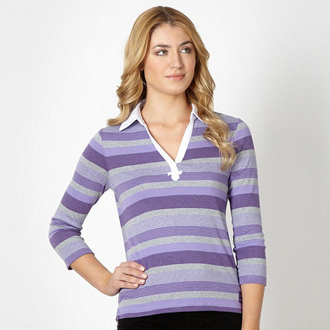 Maine New England - Lilac multi striped collar top