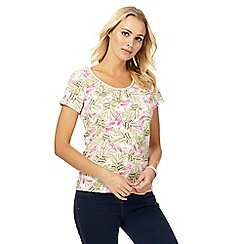 Maine New England - White palm print scoop neck top