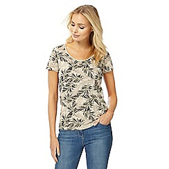 Maine New England - Natural palm print scoop neck top