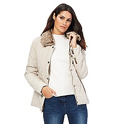 Maine New England - Taupe quilted faux fur collar jacket
