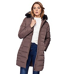Maine New England - Taupe faux fur coat
